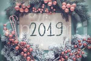 Christmas Garland, Fir Tree Branch, Snowflakes, Text 2019