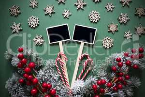 Black Sign With Christmas Decoration, Retro And Frosty Look