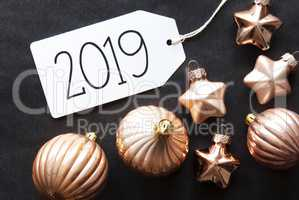 Bronze Christmas Tree Balls, Text 2019, Black Background