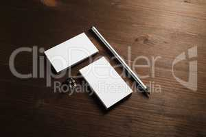 Business cards, pencil