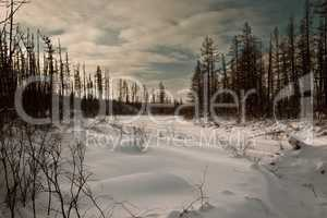 River under snow in the taiga