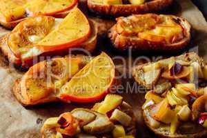 Baked Bruschettas with Fresh Fruits