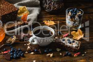 Rural Breakfast on Wooden Table