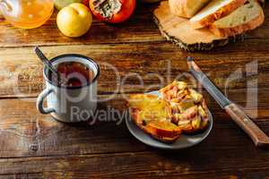 Fast Breakfast with Tea and Fruit Toast