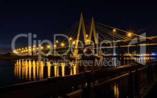 Night bridge across the river in Kazan