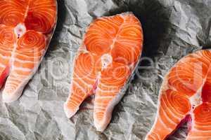 Salmon Steaks on Parchment Paper