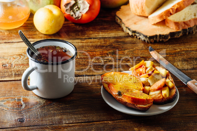 Fruit Bruschettas with Tea in Metal Mug