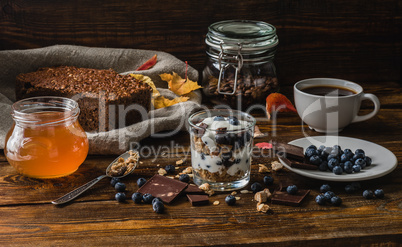 Rural Breakfast with Granola and Blueberries