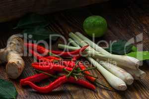 Mini chili peppers, galangal root, kaffir lime and lemongrass