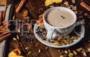 Cup of Masala Tea with Different Spices