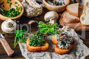 Italian Snack Bruschetta with Greens and Mushrooms