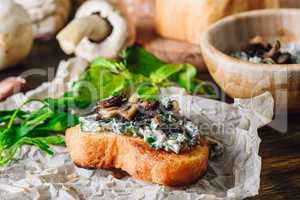 Bruschetta with Fried Agaricus and Sour Cream
