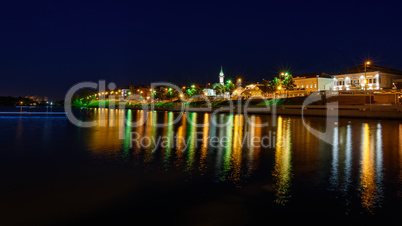 The city of Kazan during a beautiful summer night.