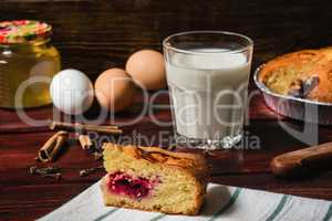 Sweet breakfast with cherry cake and glass of milk