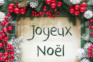 Christmas Decoration Like Fir Tree Branch, Joyeux Noel Means Merry Christmas