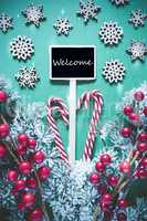 Vertical Black Christmas Sign,Lights, English Text Welcome