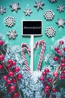 Vertical Black Christmas Sign,Lights, Adventszeit Means Advent Season