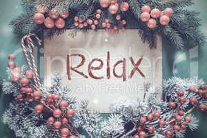 Christmas Garland, Fir Tree Branch, Snowflakes, Text Relax