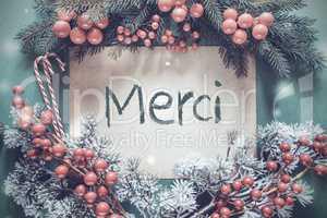 Christmas Garland, Fir Tree Branch, Merci Means Thank You
