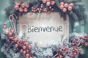 Christmas Garland, Fir Tree Branch, Bienvenue Means Welcome