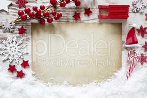 Brown Paper, Christmas Decoration, Snow, Copy Space