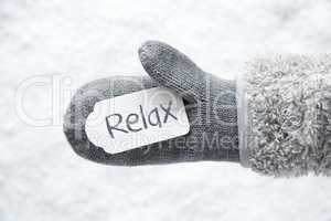 Wool Glove, Label, White Snow, Text Relax