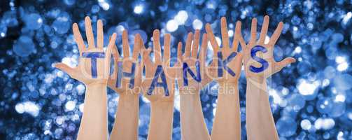 Hands Building Word Thanks, Glittering And Sparkling Bokeh Background