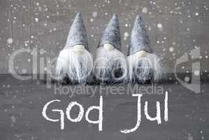 Gnomes, Cement, Snowflakes, God Jul Means Merry Christmas