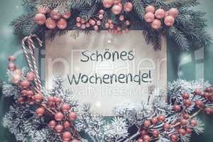 Christmas Garland, Fir Tree Branch, Schoenes Wocheende Means Happy Weekend