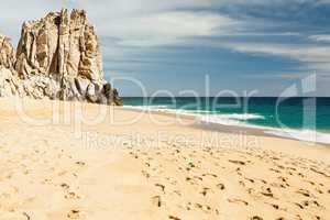 Footsteps in the beach of Cabo San Lucas, Mexico