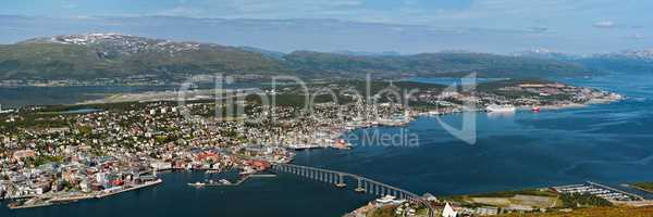 Panoramic view of Tromso and its port, Norway