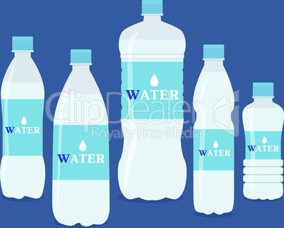 Set of five water bottles