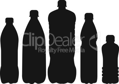 Set of 5 bottle silhouettes