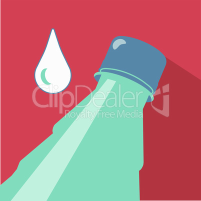 Vector illustration. Inclined bottle of pure water