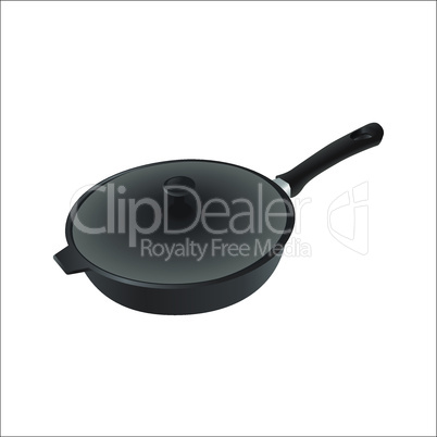 Vector iron pan with cover and black handle. Eps 10