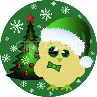 Cute yellow chick with santa cap and christmas tree