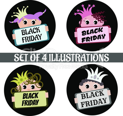 Set of four King with nameplate Black Friday illustrations