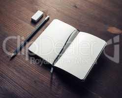 Diary, pencil, eraser