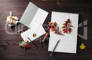 Stationery, autumn leaves