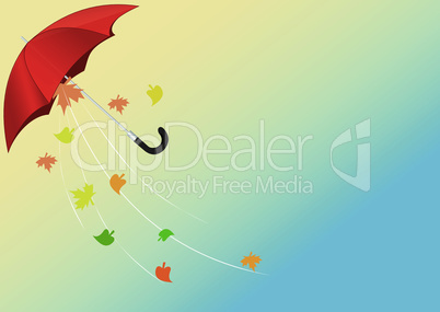 Flying umbrella with leaves