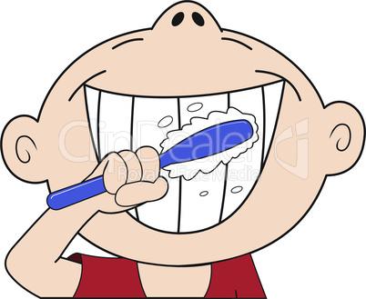 The boy brushing teeth