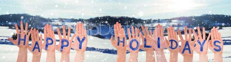 Many Hands Building Word Happy Holidays, Winter Scenery As Background