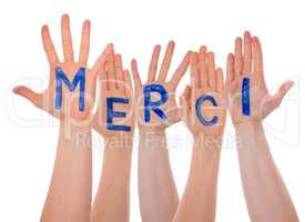 Many Hands Building Merci Means Thank You, Isolated