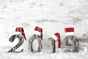 2019, Red Santa Claus Hat, Snow, Cold Look And Copy Space