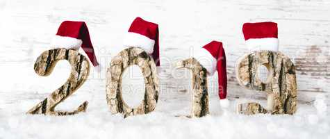 Panorama Wooden Letter Building 2019, Red Santa Claus Hat, Snow
