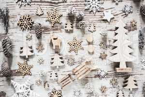 Flat Lay With Rustic White Christmas Decoration
