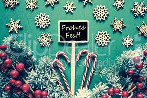 Black Sign,Lights, German Text Frohes Fest Means Merry Christmas, Retro Look