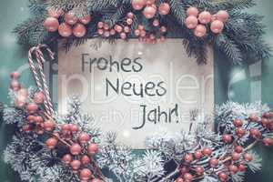Christmas Garland, Fir Tree Branch, Frohes Neues Means Happy New Year