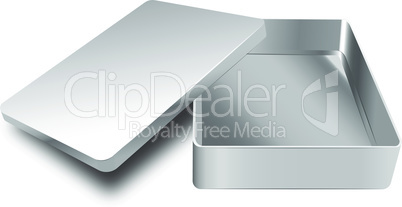Template of metal box with cover up. EPS 10