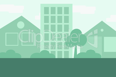 Vector city background in blue colors in flat style. EPS 10